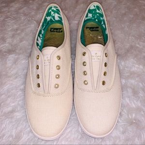 Ivory linen tennis shoes 8.5 Keds Kate Spade